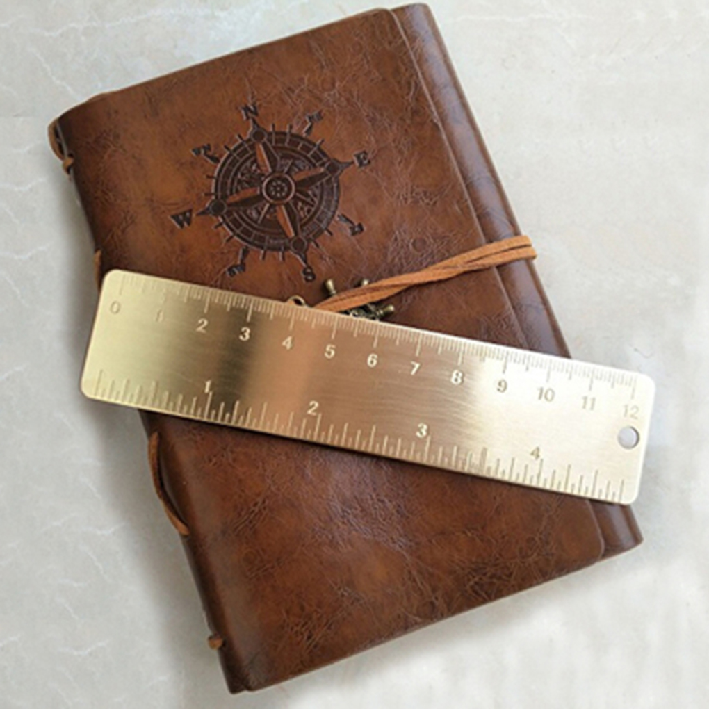 13cm Portable Vintage Brass Scale Ruler Bookmark Stationery Accessory Outdoor Camping EDC Tools