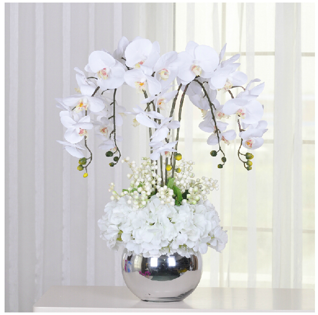 Aliexpress buy indigo white flower arrangment orchids real indigo white flower arrangment orchids real touch flower table wedding party fake flower decorative event mightylinksfo