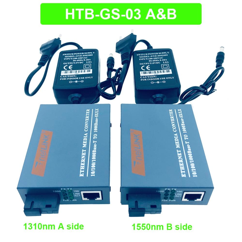 Conversor de mídia ótico de fibra ótica, 1 par HTB-GS-03 gigabit 10/100/1000mbps lan modo único de fibra sc porta com fonte de alimentação