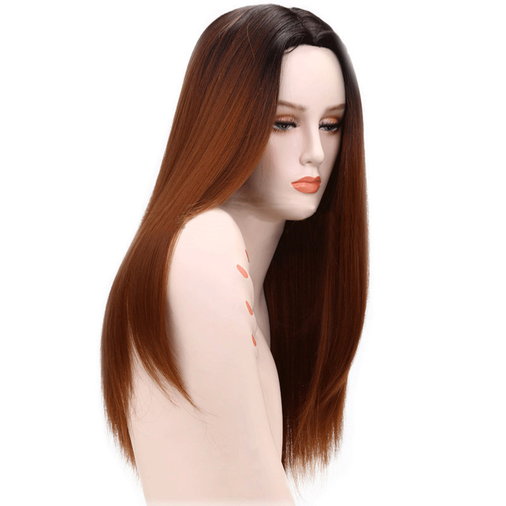 Unique Design Women Fashion Lady Long Straight Neat Middle Part Hair Cosplay Party Wig High Temperature Silk Gift Dropshipping