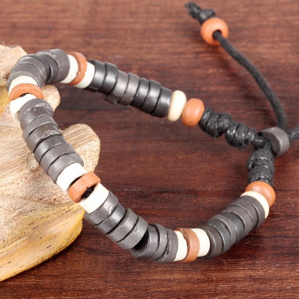 Simple hand-woven beads hand rope Restoring ancient ways is burned pottery clay ceramic bracelet