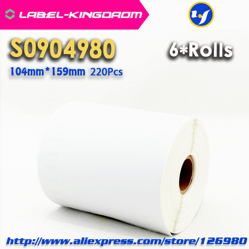 6 Rolls Dymo Compatible S0904980 Label 104mm 159mm 220Pcs Roll Compatible for LabelWriter 4XL Printer 4