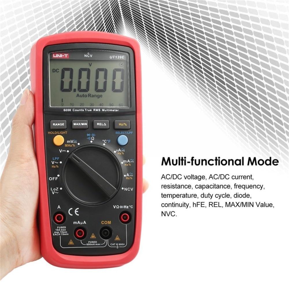 UNI-T UT139E 6000 Counts Digital Multimeter with Auto Range DC/AC Voltage True RMS LPF Pass Filter LoZ Temperature Capacitance цена