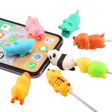 Animal Cable Bite Protector For iphone cable Charger USB cable Cute silicone animal cat dog Cable Accessory Bite Protector(China)