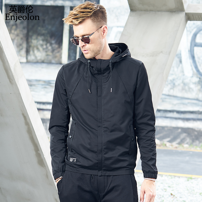 Enjeolon brand new hoody jackets coat men black solid Mens 3XL hoodies coats jacket for men new male clothes JK605-in Jackets from Men's Clothing    1