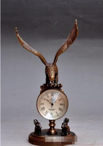 collect Bronze Copper Eagle sculpture mechanical clock table watch Statue вытяжка купольная hotpoint ariston hhbs 9 8f lt x