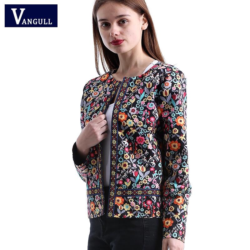 Vangull 2018 New Spring Floral Print font b Jacket b font Autumn Basic font b Jacket