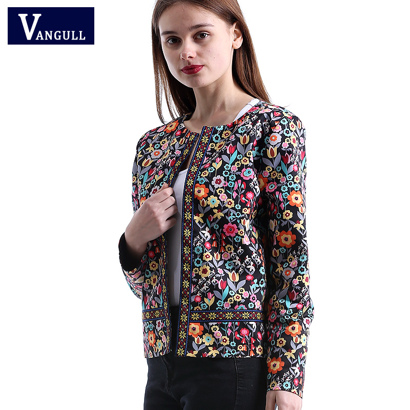 Vangull 2018 New Spring Floral Print   Jacket   Autumn   Basic     Jacket   for Women Multicolor Elegant   Jackets   and Coats Feminina