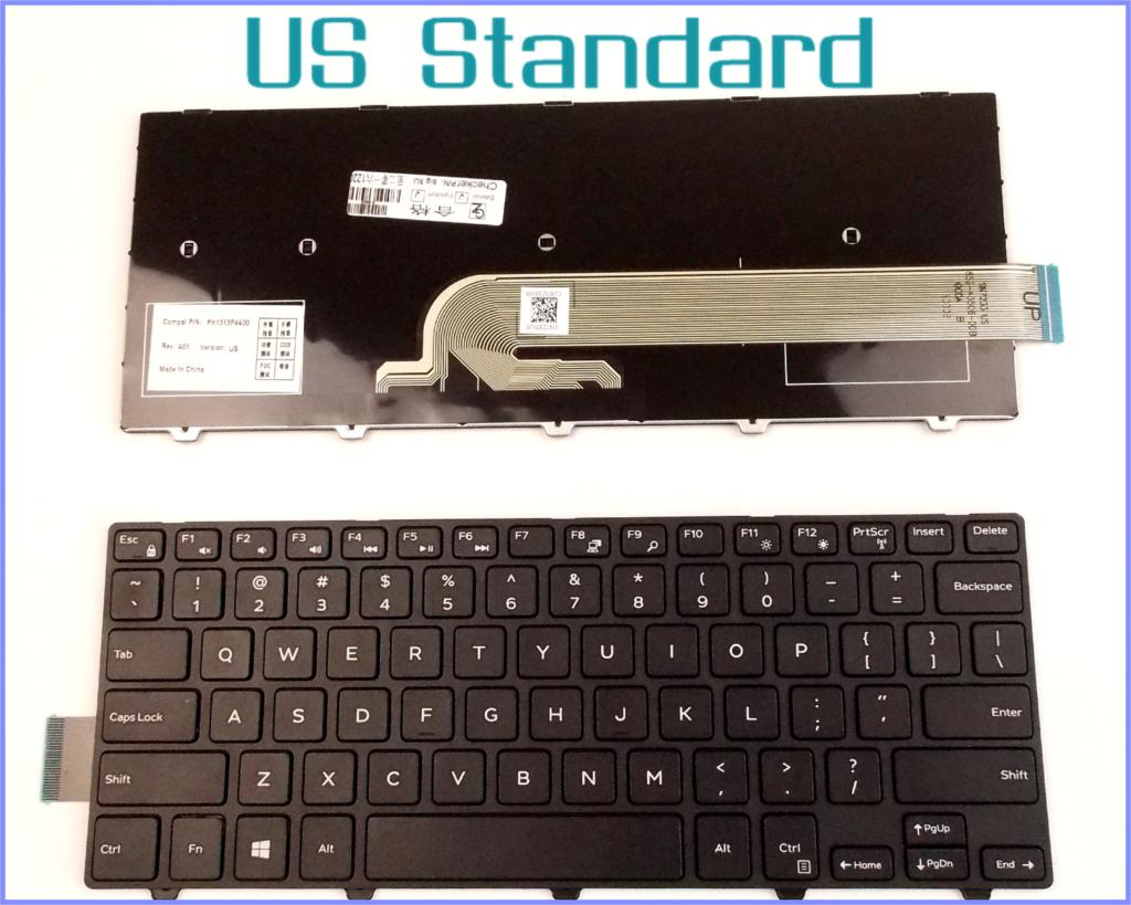 US English Version Keyboard for Dell Inspiron 14-3000 Series 3451 3458 Laptop No-Backlight With Frame Black