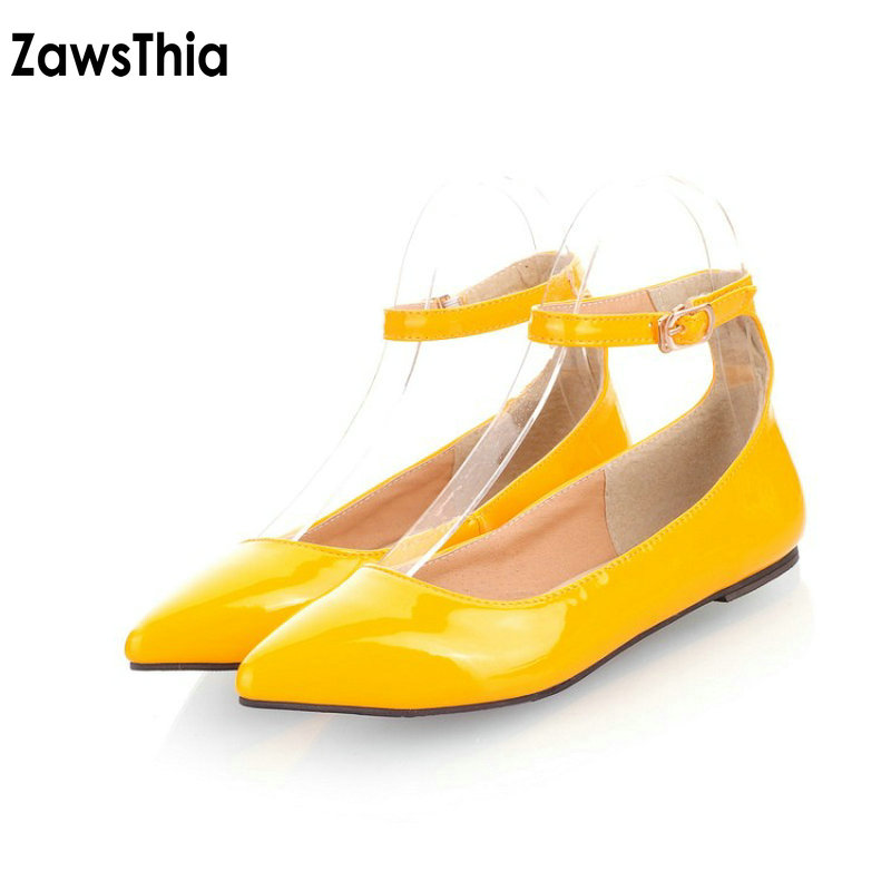 ZawsThia patent PU solid yellow red black casual woman flats ankle buckle strap women mary janes shoes extra large size 47 48 49 hee grand solid patent leather women oxfords british new fashion platform flats casual buckle strap ladies shoes woman xwd5833