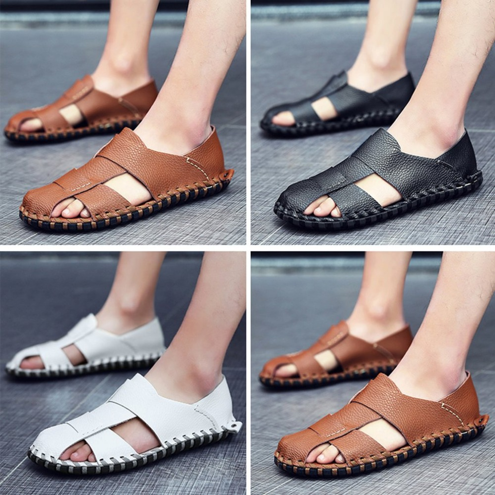 Fashion Summer Anti-slip Sole Soft Leather Flat Shoes Man Sandal Slippers Comfortable Breathable Hollow Outdoor Beach Shoes