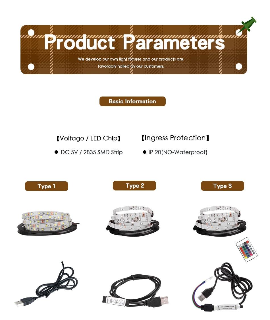 HTB1SwcKTAzoK1RjSZFlq6yi4VXaW DC 5V LED Strip 3Key USB Cable Power Flexible Light Lamp 50CM 1M 2M 3M 4M 5M SMD 2835 Desk Screen Tape TV Background Lighting