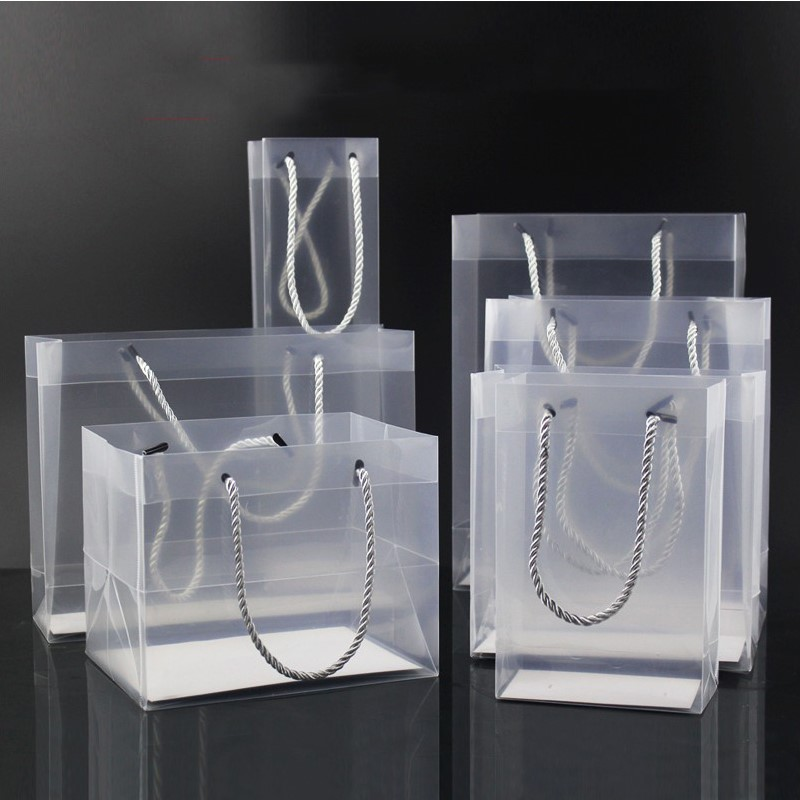 2018 New Creative Pp Plastic Gift Packaging Bags With Handle Wedding Party Favors Bags Portable Plastic Transparent Gift Bags