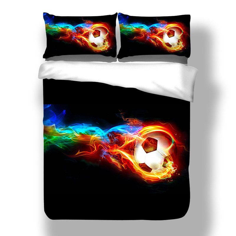 Duvet Cover 3D Flame Football Seabed Fashion Bedding Sets King Queen full Twin Size 3PCS black PillowCase housse de couetteDuvet Cover 3D Flame Football Seabed Fashion Bedding Sets King Queen full Twin Size 3PCS black PillowCase housse de couette