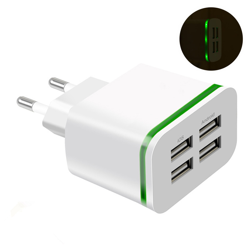 Image 5 - USB Charger for iPhone Samsung Android 5V 2A 4 Ports Mobile Phone Universal Fast Charge LED Light Wall Adapter usb wall charger-in Mobile Phone Chargers from Cellphones & Telecommunications