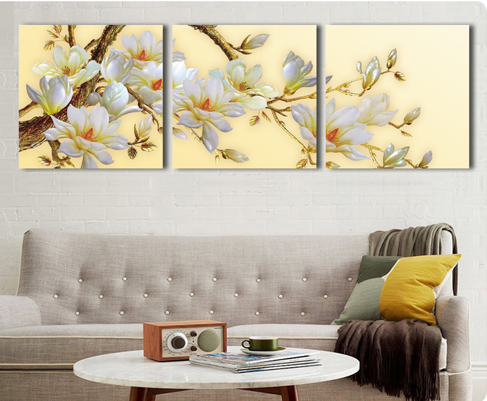 3 panel modern white orchid flower painting on canvas - Living room wall paintings pictures ...