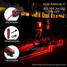 Blybike USB Genopladelig LED & LD Cykel Baglygte Laser Bike Baglygte Blitzlampe Vandtæt Nat Sikkerhed Ridning Tilbehør