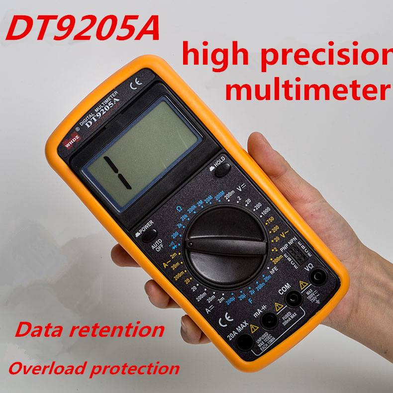 Electrician DT9205A Digital Multimeter Auto Range Protection AC / DC Ammeter Voltmeter Ohm Electrical Tester frequency detectors  цены