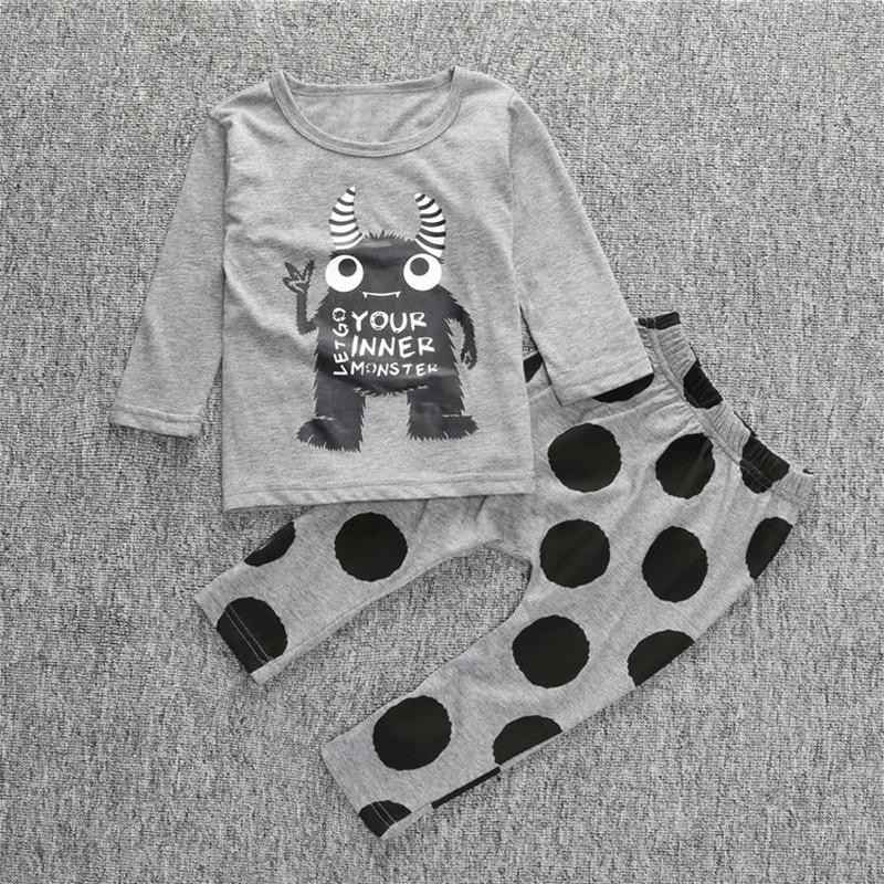 Kölelerinin Bebek Erkek Giysileri Casual Bebek Kız Giyim Karikatür Desen Yüksek Kalite Bebek Suit T Gömlek Ve Pantolon Giyim Setleri