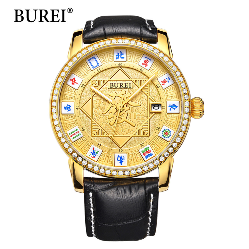 2017 Luxury Men Automatic Mechanical Watch BUREI Famous Brand Wristwatches Men Gold Case Gold Dial Genuine Leather Strap Watches forsining famous brand watch 2018 new luxury men automatic watches gold case dial genuine leather strap fashion tourbillon watch