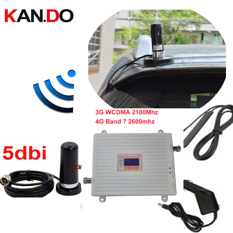 Car Use 3G 4G Booster Repeater Set W/ Antenna 3G WCDMA &4G Amplier BAND7 LTE 4G Booster 22dbm 65dbi 2600mhz 4G Booster Repeater