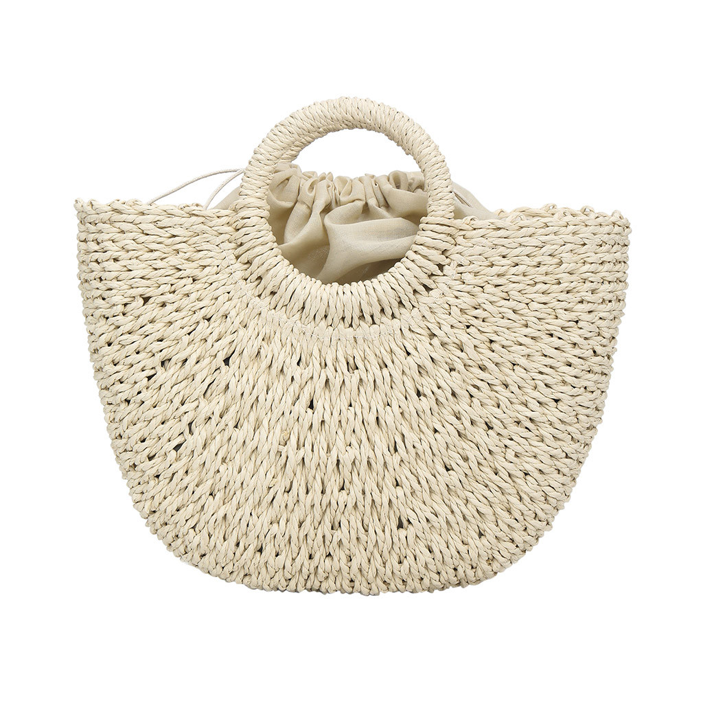 Bags Handbag Woven-Bag Casual Women Straw Solid for Wind