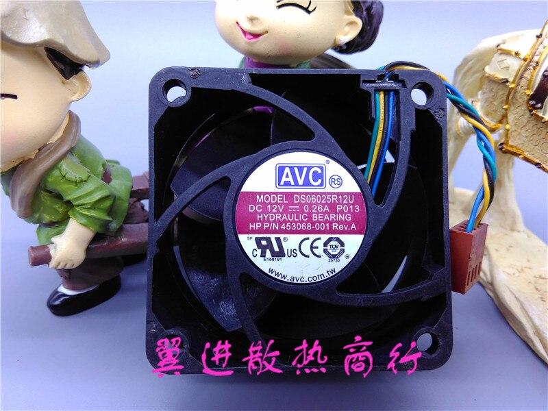Free Shipping For AVC DS06025R12U, P103 DC 12V 0.26A 4-wire 4-pin connector 60mm 60x60x25mm Server Square Cooling fan
