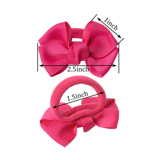 1Pair/2pcs 2.5″ Ribbon Bows Hair Gum Headwear Hair Bows For Girl Rubber Band Elastic Bands