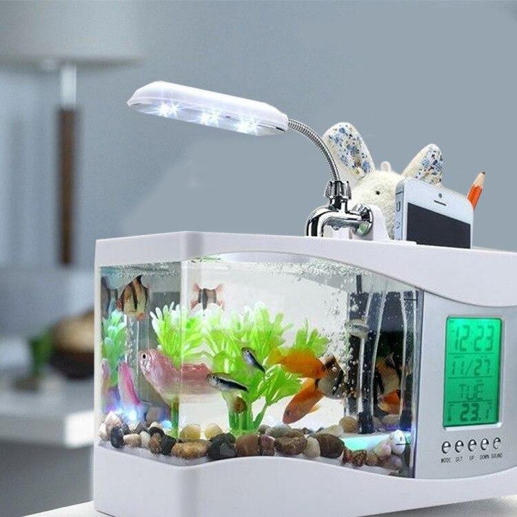Mini Aquarium électronique de bureau Usb Mini Aquarium avec pompe à LED en cours d'exécution horloge calendrier lumière blanc noir