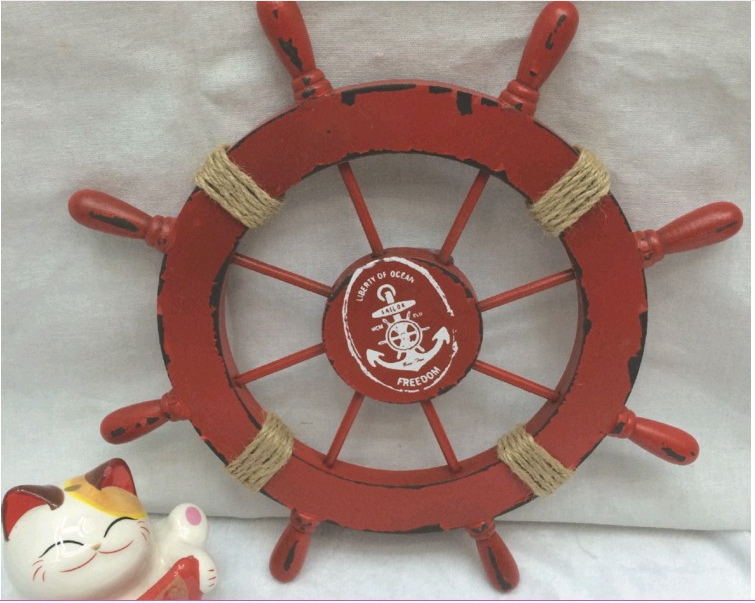 1PC Mediterranean Nautical Red Wooden Anchor Boat Ship Wheel Wall Plaque Nautical Beach Rudder Home Wall Decor Party Decoration1PC Mediterranean Nautical Red Wooden Anchor Boat Ship Wheel Wall Plaque Nautical Beach Rudder Home Wall Decor Party Decoration