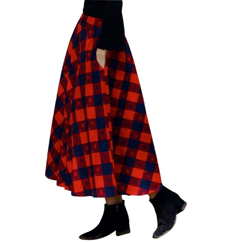 Wonderful  Plaid Skirt Women Pleated Wool Plaid Skirt Women Maxi SkirtsChina
