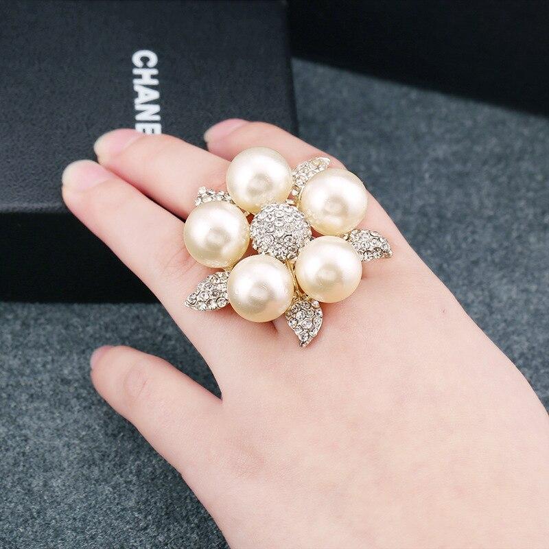 Rainbery Silver Pearl Rings  4