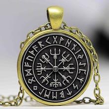 1pcs Vegvisir Viking Compass pendant jewelry Glass Cabochon Necklace