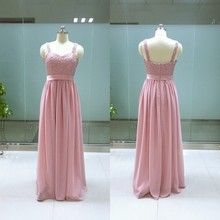 Real Photo Beading Pearls Lace Appliques vestido longo Cheap Bridesmaid Dresses Pink Blush Dress Custom made