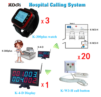 433.92mhz Wireless Nurse Call System 1 Counter Display,3 Hospital Watch Pagers For Nurse and 20 Nurse Calls Free Shipping Free фото