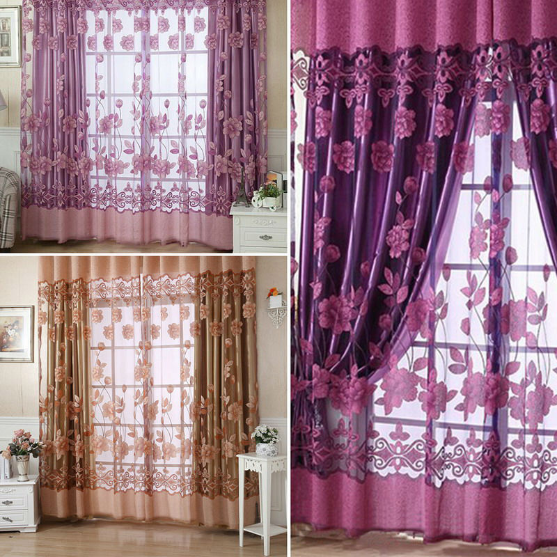 Buy 2016 New Modern Floral Sheer Tulle Voile Door Window Curtain Panel With 3
