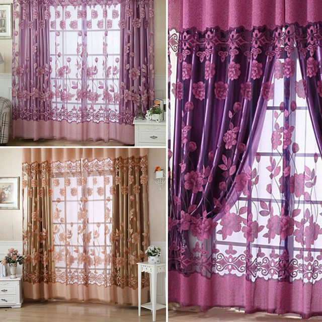 2016 New Modern Floral Sheer Tulle Voile Door Window Curtain Panel With 3 Colors 250cm X