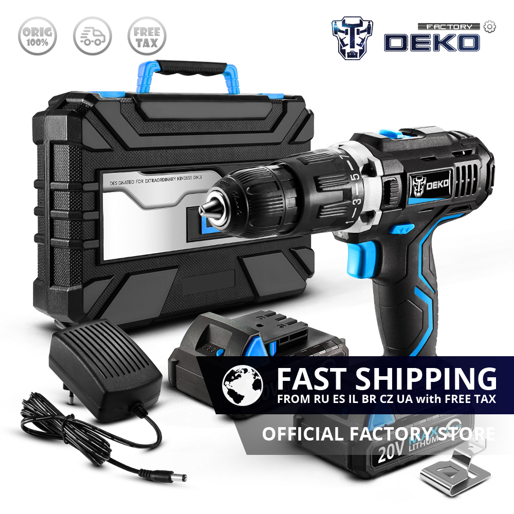 Factory Outlet DEKO GCD20DU3 20V Max DC Electric Screwdriver Impact Cordless Drill Lithium Ion Mini Power Driver 2 Battery  Box-in Electric Drills from Tools    1