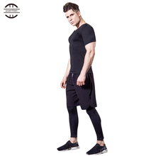 Yuerlian 3 Pcs Compression Mens Sportswear Fitness Tight Demix Tracksuit Running Set T-Shirt Leggings Pants Gym Sport Suit