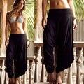 Womens Black Casual Wide Leg Long Stretch Pants Bohemian Loose Palazzo Trousers Beach Wear