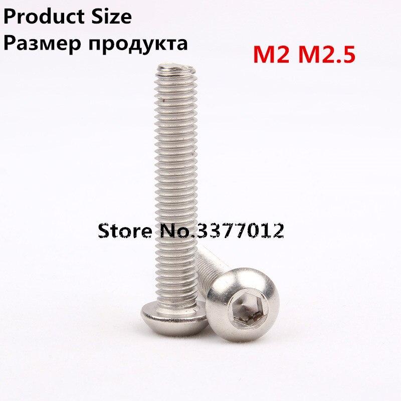 20 шт./лот 304 винты из нержавеющей стали m2 M2.5 полукруг шестигранной головкой грибок sz122-1