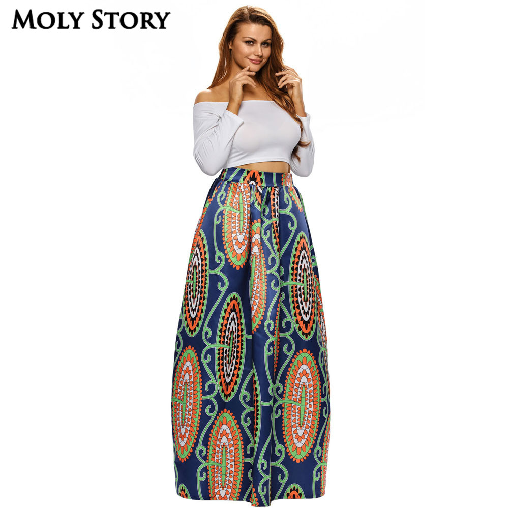 elegant long african skirt vintage ethnic print high waist. Black Bedroom Furniture Sets. Home Design Ideas