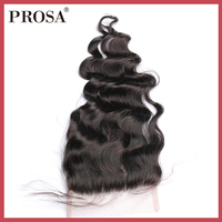 5x5 Lace Closure Brazilian Hair Loose Wave Pre Plucked Human Hair Closures With Baby Hair Bleached Knots Remy Prosa