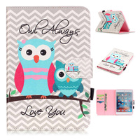 For iPad Mini 4 Case New Fashion Cute Owl PU Leather Wallet Stand Cover Case for Funda Coque iPad Mini4 with Card Slot