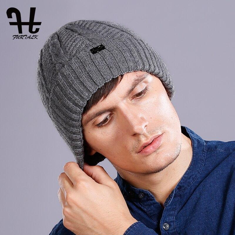 FURTALK Winter Beanie Hat Men Wool Winter Hat Man Knitted Warm Wool Hat Fleece Lining Skull Caps And Cuffed Cap Black Grey