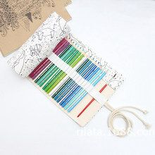 36 Holes Big Pencil Case School Canvas Roll Pouch pencil box Constellation Pencil Case Sketch Brush pen Pencil Bag Tools 36 holes portable professional sketch pencil bag pencil case extender eraser pencil case cutter drawing set bag no pencil ass029