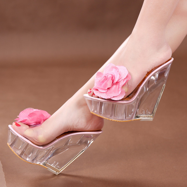 d3622111748 US $34.83 |Summer Transparent Platform Wedges Sandals Female Slippers PVC  Clear Crystal Mules Slides Women Fashion High Heel Pumps Shoe2522-in  Women's ...