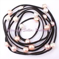 """SALE FREE SHIPPING 9-10MM WHITE PINK PURPLE PEARL BLACK ROPE FASHION STYLE HANDMADE SWEATER CHAIN NECKLACE 60"""""""