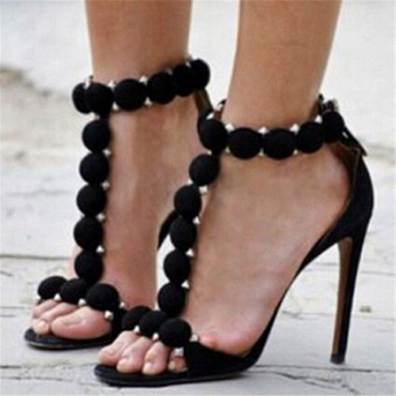 Sexy Rivets Ball Deco T-strap High Heels Women Sandals Wine Red Black Suede Gladiator Sandals Women Shoes Woman Sandalias Mujer delicate rhinestone leaf shape cuff bracelet for women