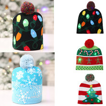 Kids Adults LED Light Christmas Men Tree Snowflake Hat Colorful Lamps Luminous Xmas Gifts Cap(China)